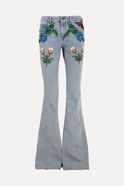 Appliquéd mid-rise flared jeans
