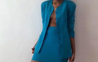 100% Silk Turquoise Skirt Suit