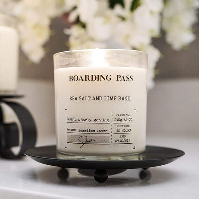 Boarding Pass Sea Salt And Lime Basil Scented Candle (8.5 Ounces)