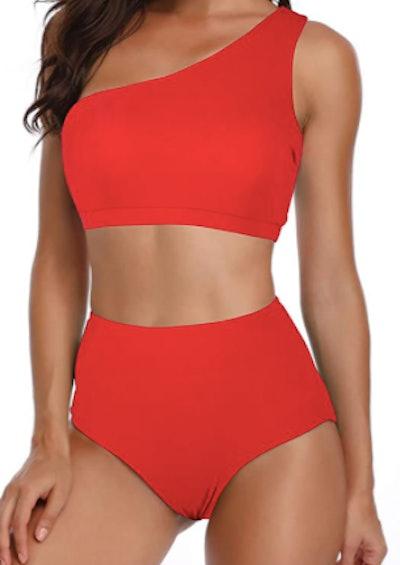NAFLEAP One Shoulder High Waist Bikini Set (2-Pieces)