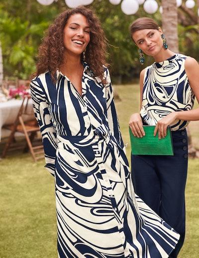 Isodora Midi Shirt Dress - French Navy, Nouveau Swirl