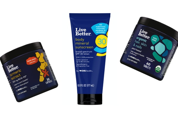 The Live Better by CVS Health brand is releasing new products such as turmeric extract capsules, body mineral sunscreen, and organic hair, skin, and nails tablets.