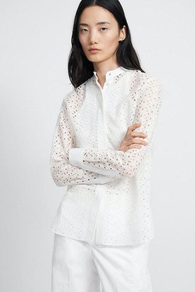 Theory Daisy Eyelet Cotton-Silk Combo Shirt