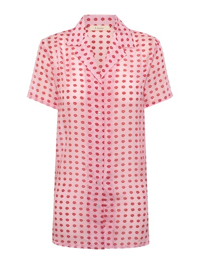 Lisou Violet Lip Print Silk Voile Printed Dress