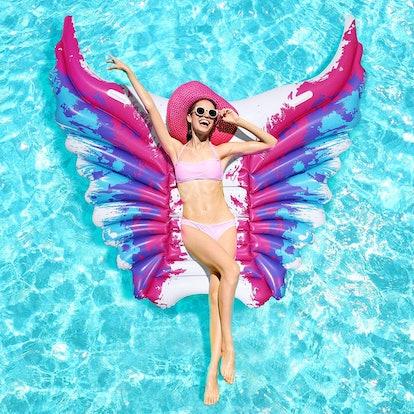 iBaseToy Inflatable Angel Wings Pool Float