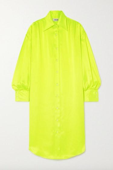 Christopher John Rogers Oversized Crystal-embellished Neon Silk-charmeuse Shirt Dress