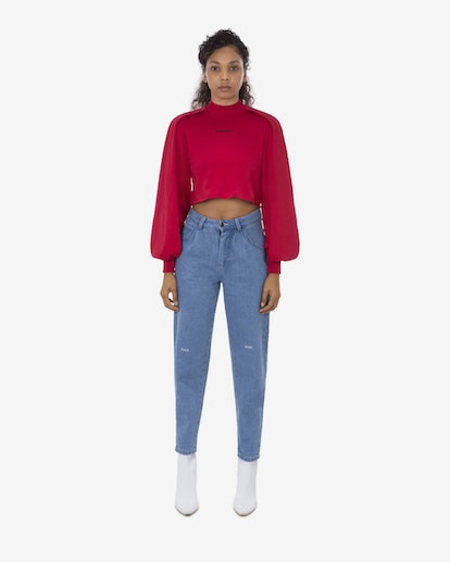Pyer Moss Wrap Long-Sleeve Cropped Shirt
