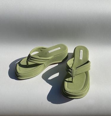 Design By Maryam Chunky Green Platform Sandals