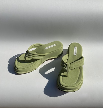 Design By Maryam Chunky Green Platform Sandals