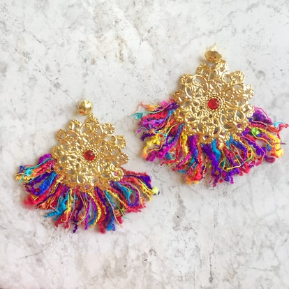 Lola Ade Rainbow Sphere Fringe Earrings