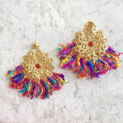 Lola Ade Rainbow Sphere Fringe Earrings