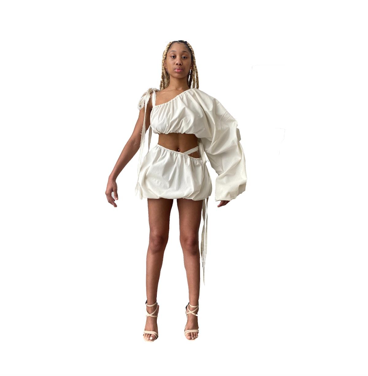 TLZ L'Femme Ivory Denim One Sleeve Blouse