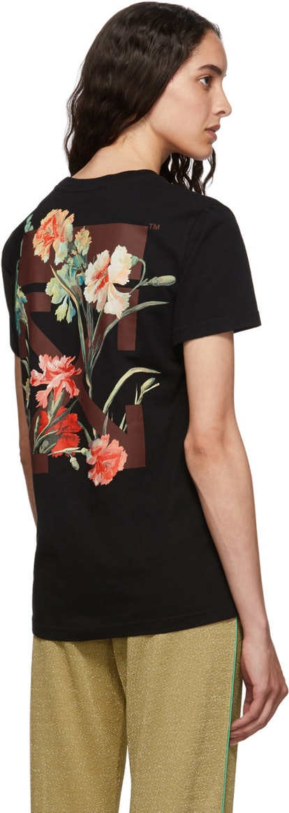 Off-White Black Flowers T-Shirt