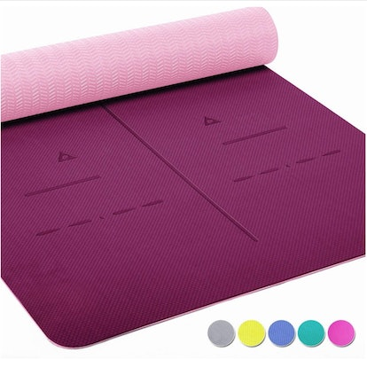 Heathyoga Non Slip Yoga Mat With Body Alignment System