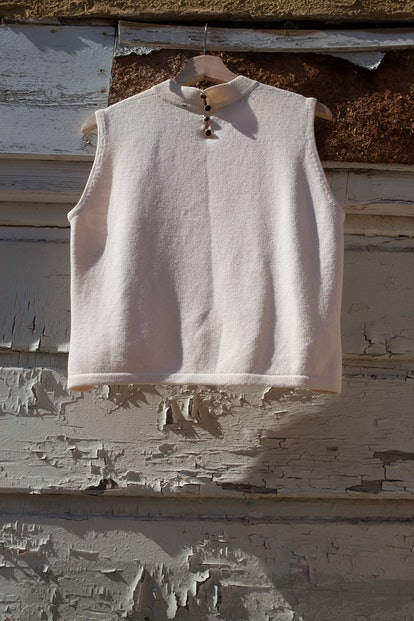 St. John Cream Mock Neck Shell