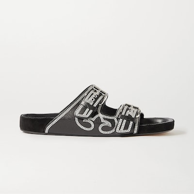 Isabel Marant Lennyo Embroidered Leather Slides