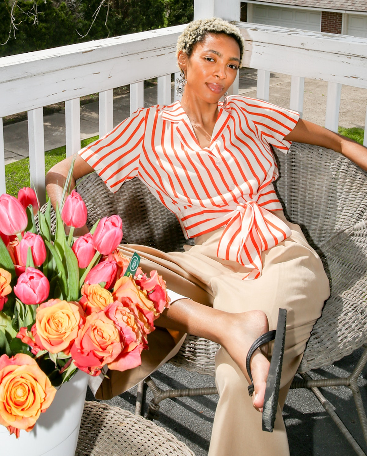 Hope For Flowers Candy Stripe Tie Waist Shirt