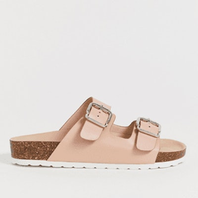 London Rebel Double Buckle Footbed Sandal
