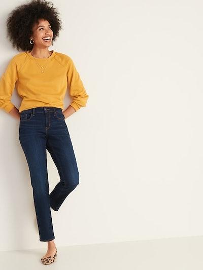 Old Navy Mid-Rise Dark-Wash Power Slim Straight Jeans
