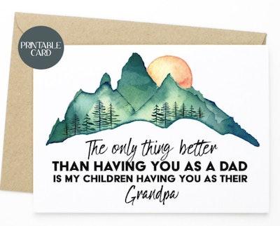 Printable Sentimental Card For Dad