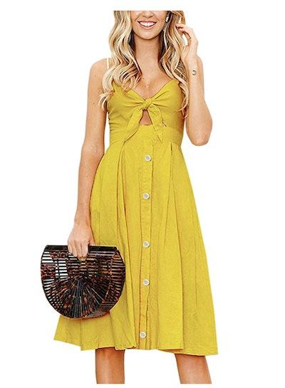 ECOWISH Tie Front Swing Midi Dress
