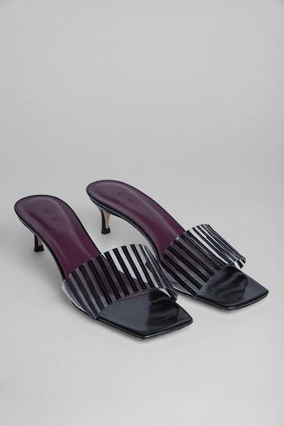 Mei Black Semi Patent Leather