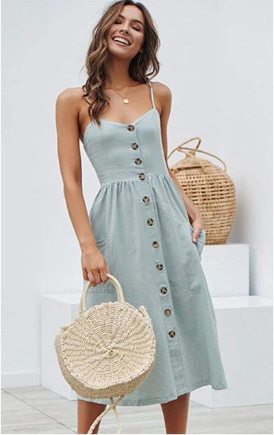 Angashion Swing Midi Dress with Pockets