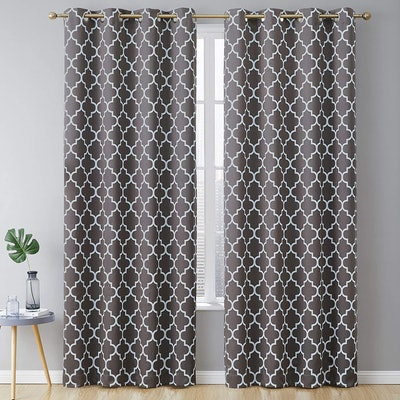 HLC.ME Lattice Print Thermal Insulated Blackout Curtains (2-Pack)