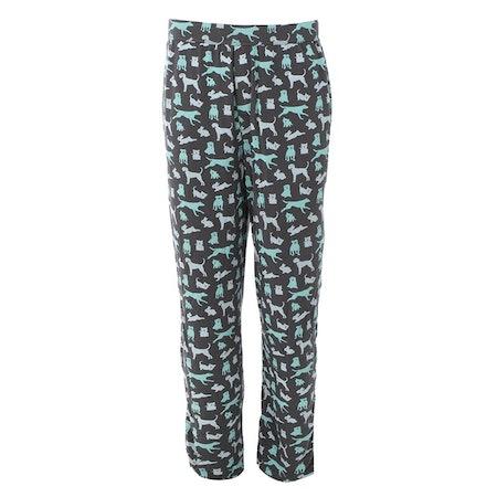 Print Men's Pajama Pant in Stone Domestic Animals