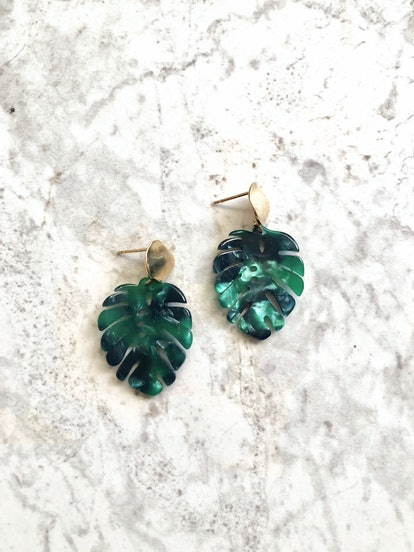 Lola Ade Mini Monstera Leaf Earrings