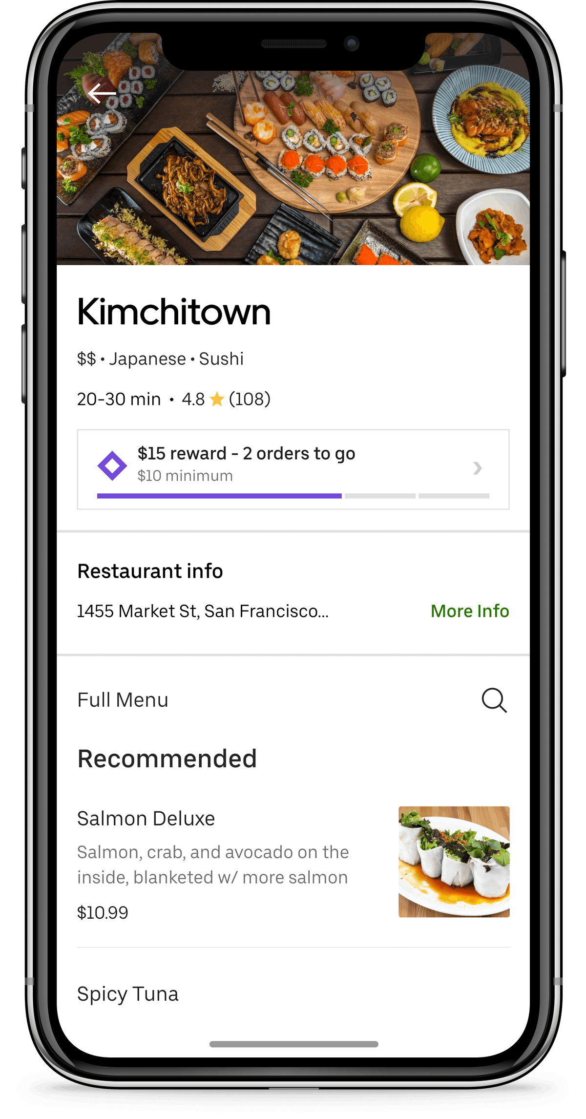 You can see your rewards progress at specific restaurants in the app.
