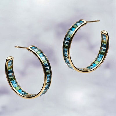 Jane Taylor Cirque 1-Inch Inside-Out Horizontal Baguette Stud Hoops (Price Upon Request)
