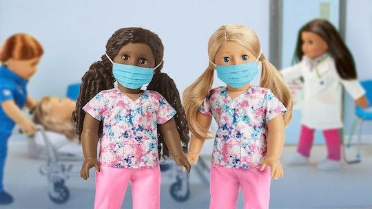 two american girl dolls in #thankyouheroes scrubs