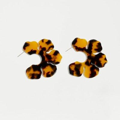 J. Crew Acetate Flower Open Hoops Earrings