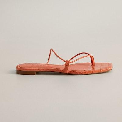 Mango Flat Croc Sandal