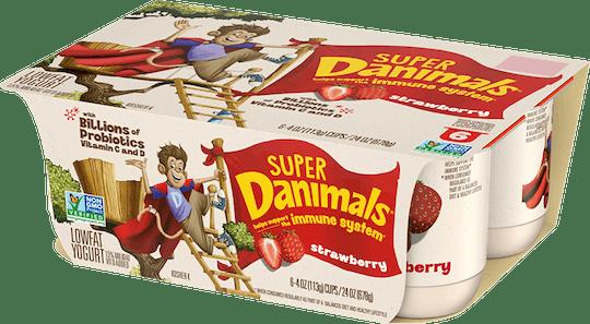 New Super Danimals yogurt features probiotics to help support a child's immune system.