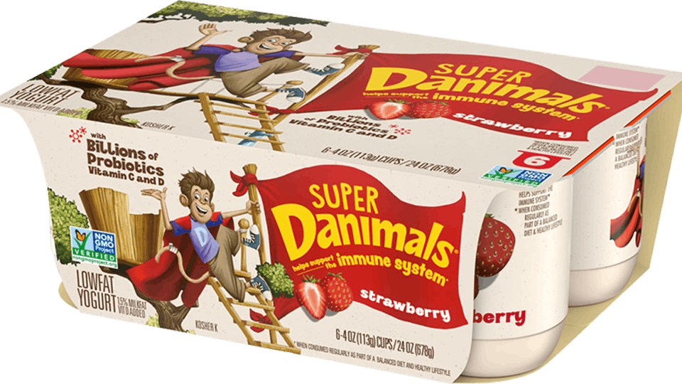 New Super Danimals yogurt features probiotics to help support a child's immune system.