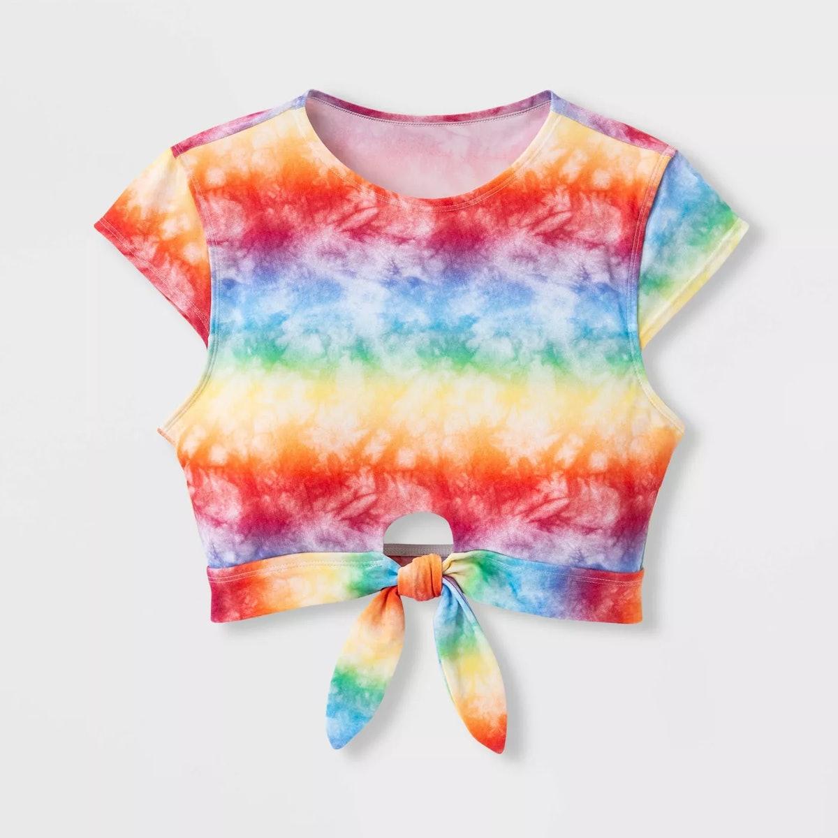 Sirena Pride Gender Inclusive Adult Rainbow Tie-Dye Crop Swim Top