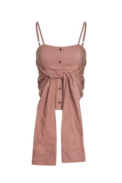 Rose Linen Corset Tie Top