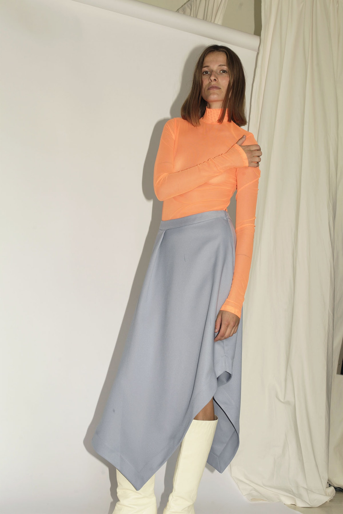 Long Sleeve Mock Neck, Fluro Orange