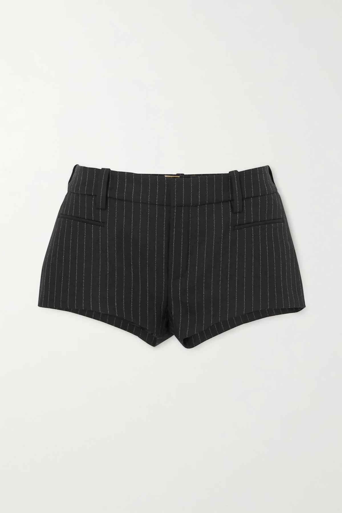 Pinstriped Wool-Twill Shorts