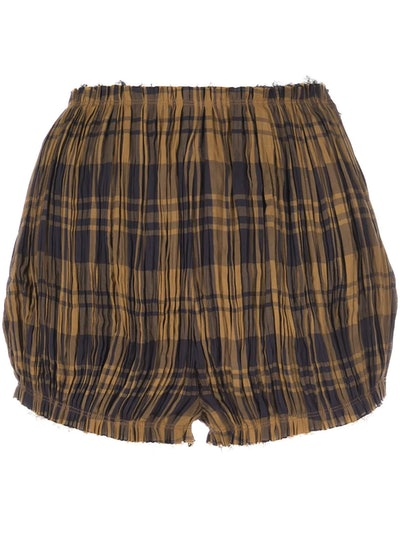Hilary check-pattern pleated shorts