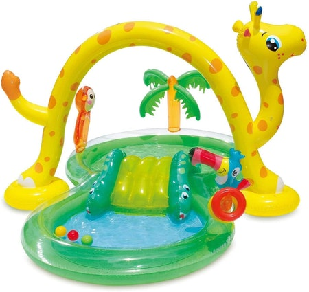 Summer Waves Inflatable Jungle Animal Kiddie Swimming Pool Play Center With Slide
