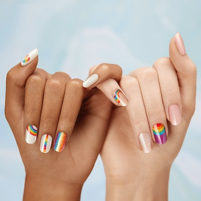 Dashing Diva's new Pride line features press on nails in litter finishes and a variety of rainbows.