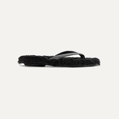 Tibi Bryan Shearling-Trimmed Leather Flip Flops
