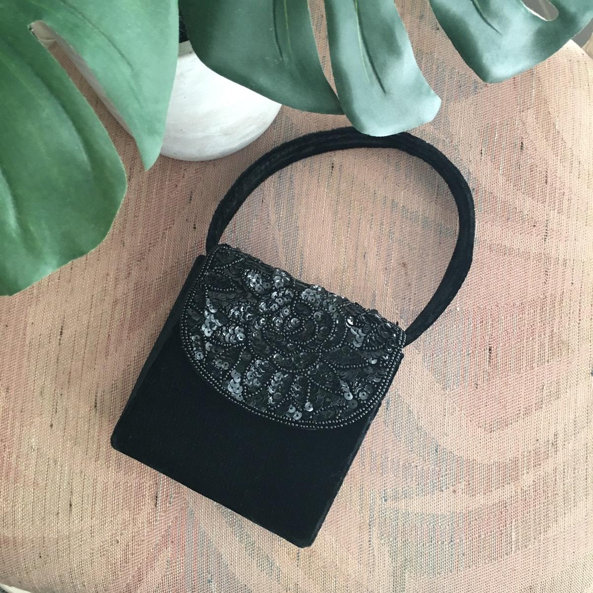 Another Minimalist Sequin Velvet 90s Mini Shoulder Bag