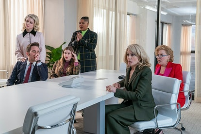 Ben Platt as Payton Hobart, Julia Schlaepfer as Alice Charles, Laura Dreyfuss as McAfee Westbrook, Rahne Jones as Skye Leighton, Judith Light as Dede Standish, and Bette Midler as Hadassah Gold in 'The Politician'