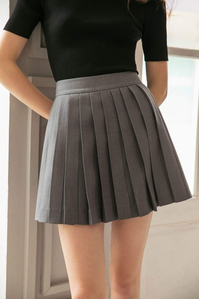 Kensington Charcoal Pleated Skirt