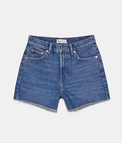 Hi-Rise Straight Denim Shorts