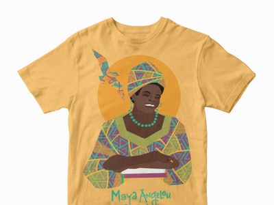 Trailblazer Tees from Piccolina feature inspirational women like Maya Angelou.